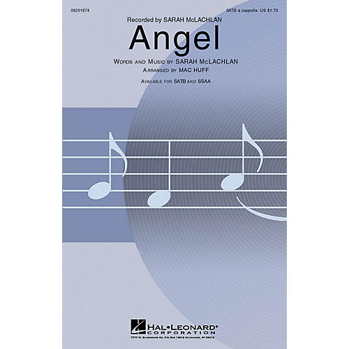 Hal Leonard Angel SATB a cappella by Sarah McLachlan arranged by Mac Huff