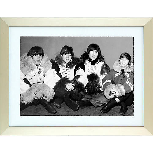 Mirrorpix Another Beatles Christmas Show Black and White Framed Print