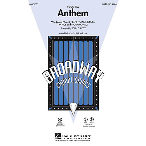 Hal Leonard Anthem (from Chess) SATB by Josh Groban arranged by John Purifoy