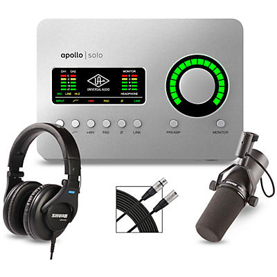 Universal Audio Apollo Solo Heritage Edition Interface With Shure SM7B, SRH 440 and Mic Cable