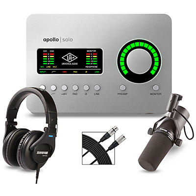 Universal Audio Apollo Solo USB Heritage Edition Interface With Shure SM7B, SRH 440 and Mic Cable