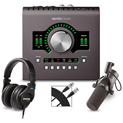 Universal Audio Apollo Twin MKII DUO Heritage Edition Interface With Shure SM7B, SRH 440 and Mic Cable