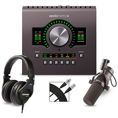 Universal Audio Apollo Twin X DUO Heritage Edition Interface with Shure SM7B, SRH 440 and Mic Cable
