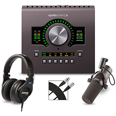 Universal Audio Apollo Twin X QUAD Heritage Edition Interface With Shure SM7B, SRH 440 and Mic Cable
