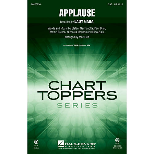 Hal Leonard Applause SAB by Lady Gaga arranged by Mac Huff