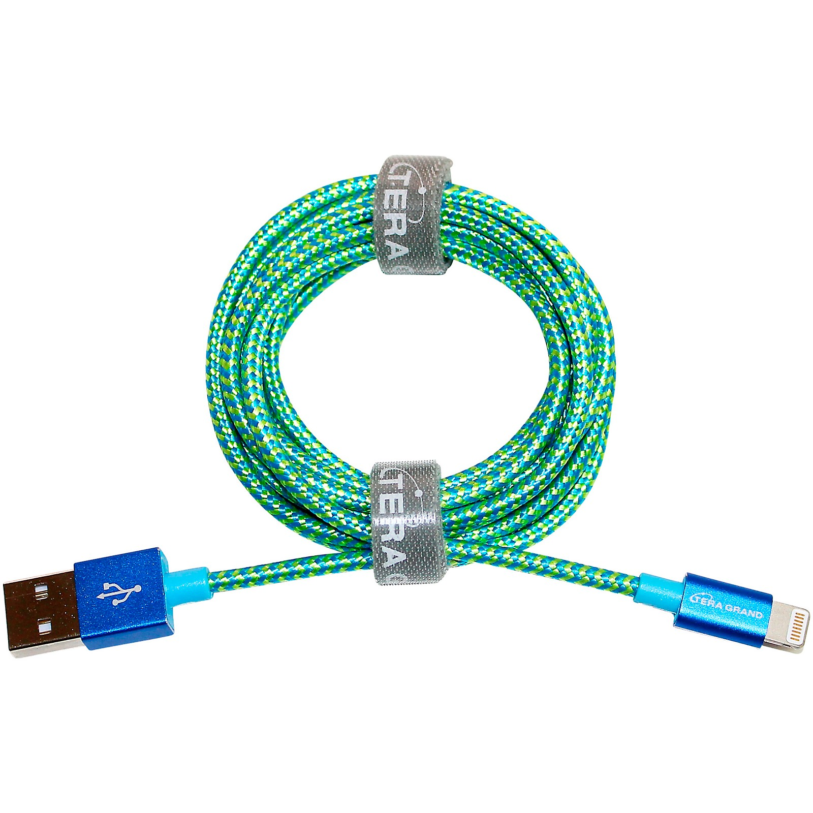 Tera Grand Apple MFi Certified - Lightning to USB Braided Cable with Aluminum Housing, 7 Feet Blue/Green