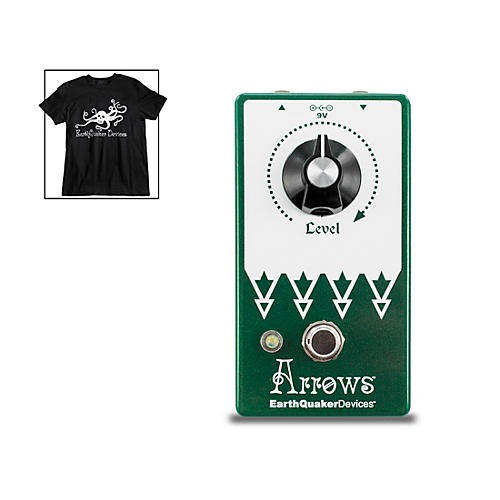 EarthQuaker Devices Arrows V2 Preamp Booster Effects Pedal and Octoskull T-Shirt Large Black