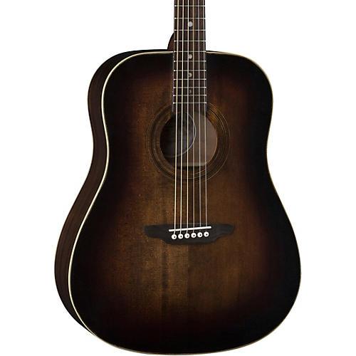 Luna Guitars Art Vintage Dread Solid Top Distressed Acoustic Guitar Distressed Vintage Brownburst