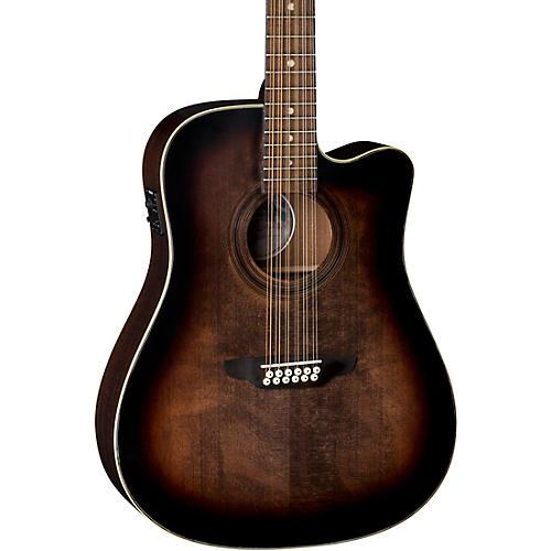 Luna Guitars Art Vintage Dreadnought Cutaway Acoustic-Electric 12-String Guitar Brown Burst