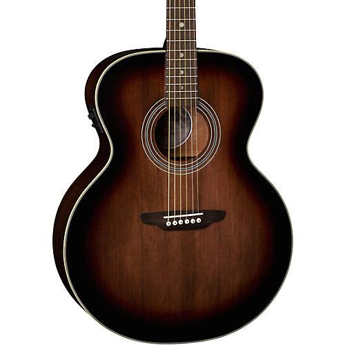 Luna Guitars Art Vintage Solid Top Jumbo Acoustic/Electric Guitar Distressed Vintage Brownburst