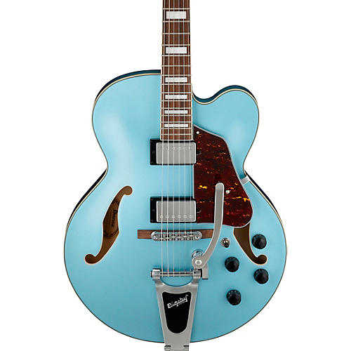Ibanez Artcore AFS75 Hollowbody Electric Guitar with Bigsby Steel Blue Flat