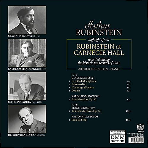 Alliance Arthur Rubinstein - Highlights From Rubinstein At Carnegie Hall