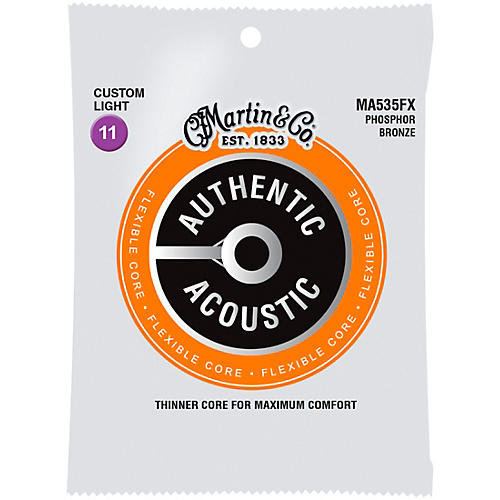 Martin Authentic Acoustic Flexible Core Guitar Strings (Phosphor Bronze, Custom Light)