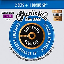 Martin Authentic Acoustic SP Custom Light (MA535) Value 3-Pack