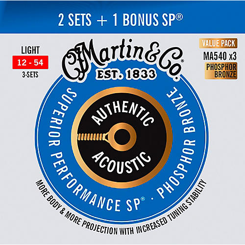 Martin Authentic Acoustic SP Guitar Strings, Light (MA540) Value 3-Pack (12-54) Light (12-54)