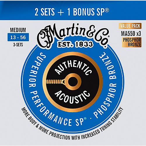 Martin Authentic Acoustic SP Guitar Strings, Medium (MA550) Value 3-Pack (13-56) Medium (13-56)