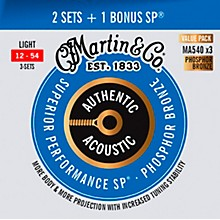 Martin Authentic Acoustic SP, Light (MA540) Value 3-Pack