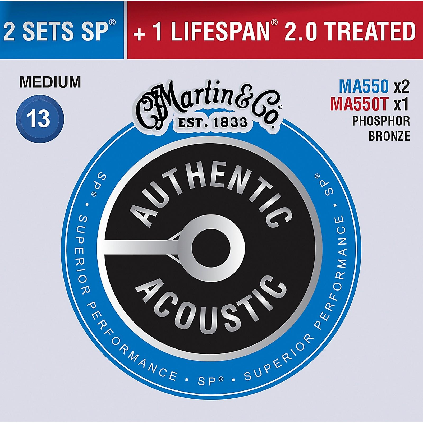 Martin Authentic Acoustic Value Pack Phosphor Bronze Medium Guitar Strings