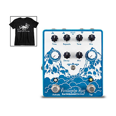 Earthquaker Devices Avalanche Run V2 Reverb/Delay Effects Pedal and Octoskull T-Shirt Large Black