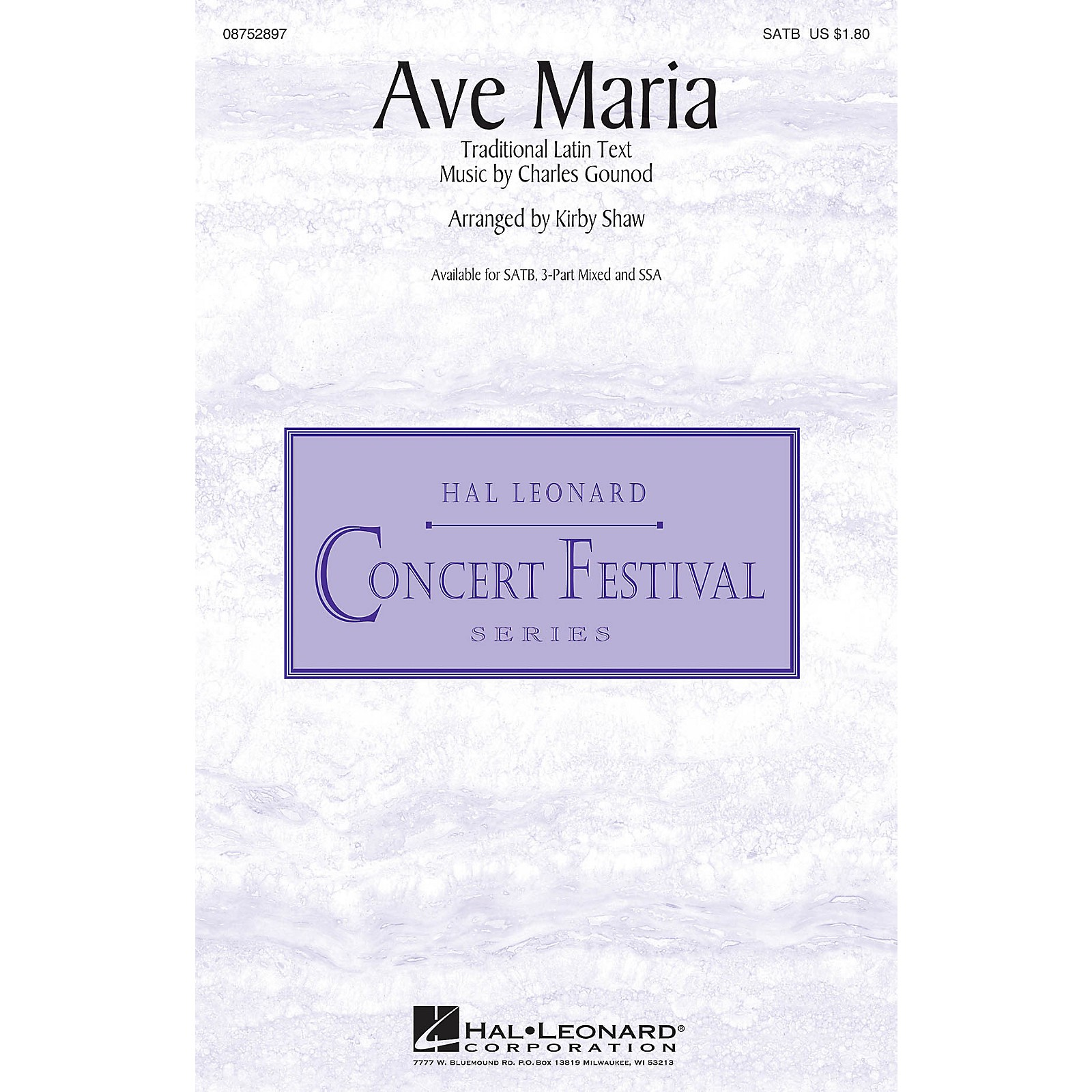Hal Leonard Ave Maria 3-Part Mixed Arranged by Kirby Shaw