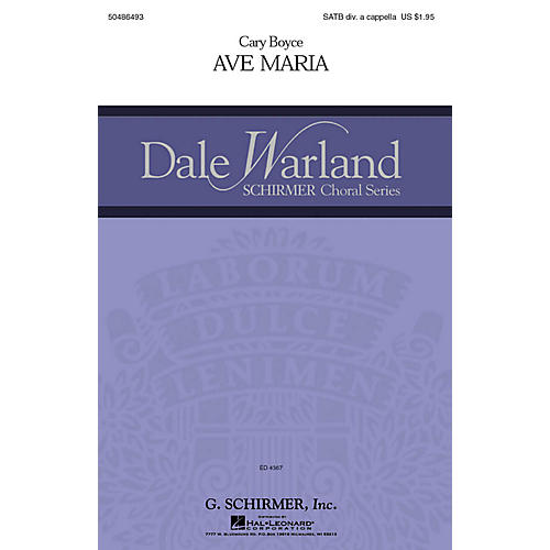 G. Schirmer Ave Maria (Dale Warland Choral Series) SATB DV A Cappella composed by Cary Boyce