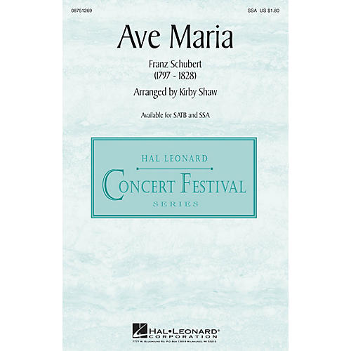 Hal Leonard Ave Maria SSA arranged by Kirby Shaw