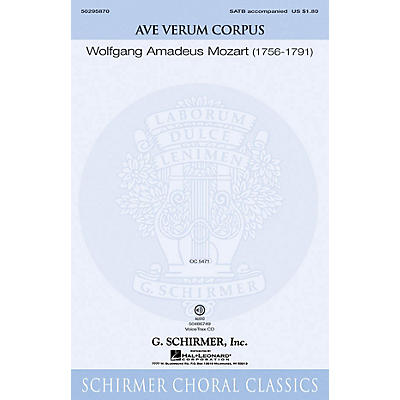 G. Schirmer Ave Verum Corpus VoiceTrax CD Composed by Wolfgang Amadeus Mozart