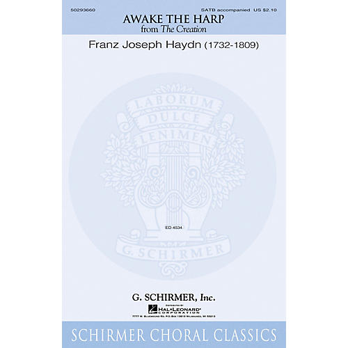 G. Schirmer Awake the Harp (from The Creation) SATB composed by Franz Joseph Haydn
