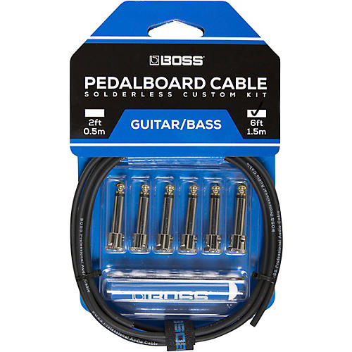 Boss BCK-6 Pedalboard Cable Kit, 6 Connectors 6 ft. Black