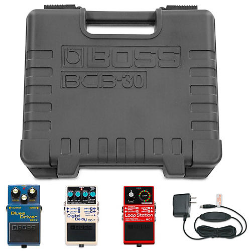 Boss BD-2 Blues Driver, DD-7 Digital Delay, RC-1 Loop Station BCB-30 Pedalboard Players Pack with Power Adapter