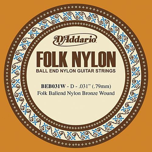 D'Addario BEB031W Folk Nylon Single Ball End Acoustic Guitar String