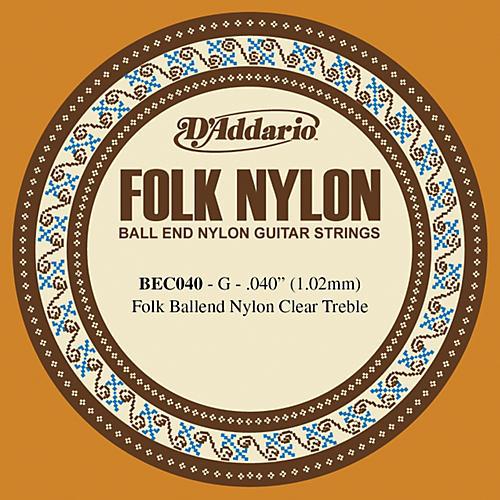 D'Addario BEC040 040 Folk Nylon Clear Ball End Single String