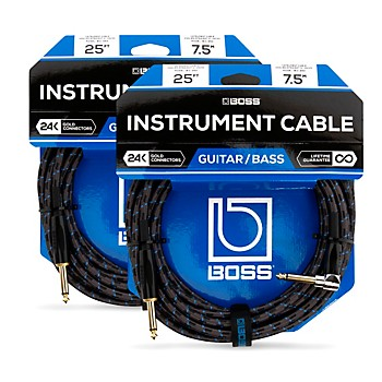 2-Pack Boss BIC-25A 25ft. Angled To Straight Instrument Cable