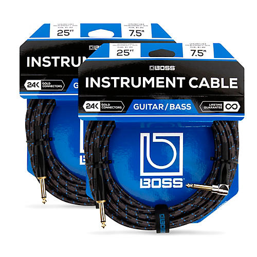 Boss BIC-25A Angled To Straight Instrument Cable 25ft. - 2-Pack