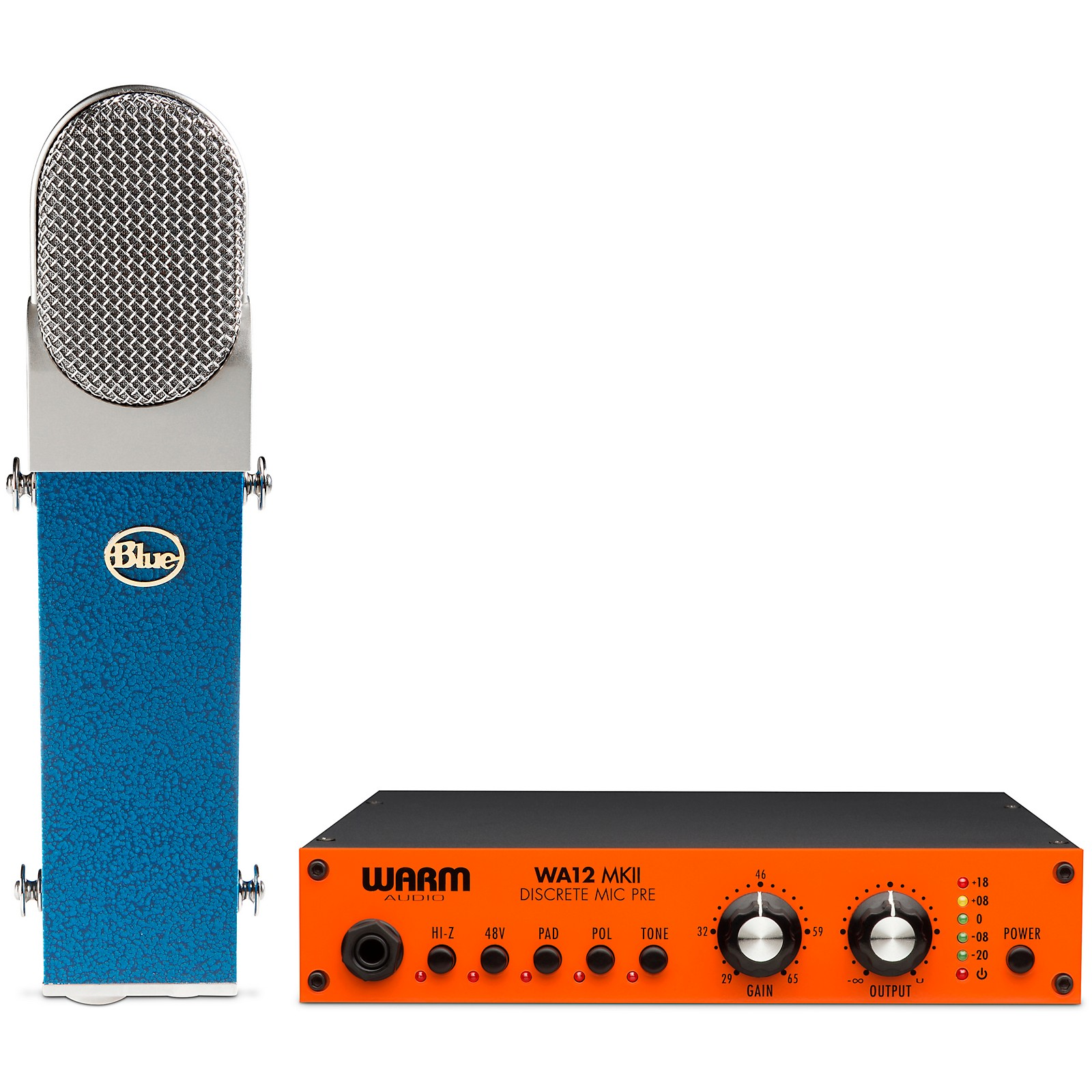 Warm Audio BLUE Blueberry Cardioid Condenser Microphone with Warm Audio WA12 MkII Microphone Preamp