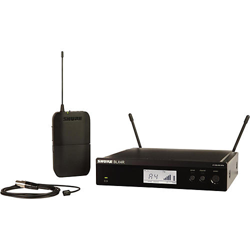 Shure BLX14R/W93 Wireless Lavalier System with WL93 Omnidirectional Condenser Miniature Lavalier Mic Band H10