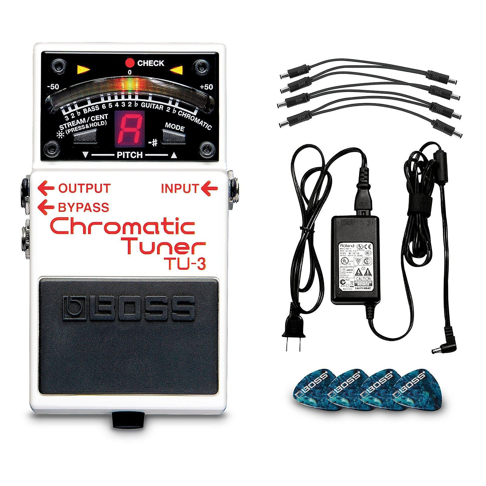 Boss BP-PS Pedal Power Solution Bundle With TU-3 Chromatic Tuner, PSB-120 AC Adapter, PCS-20A Daisy Chain and 12 Picks