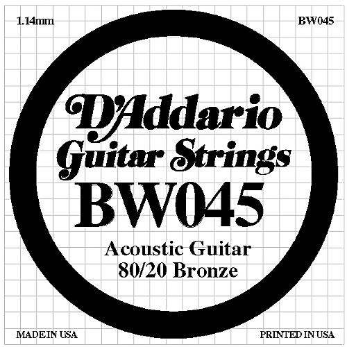 D'Addario BW045 80/20 Bronze Guitar Strings