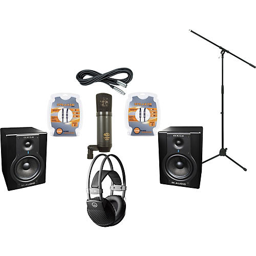 M-Audio BX5A Studio Monitors / MXL V63M Microphone / AKG K44MKII Headphones Recording Package