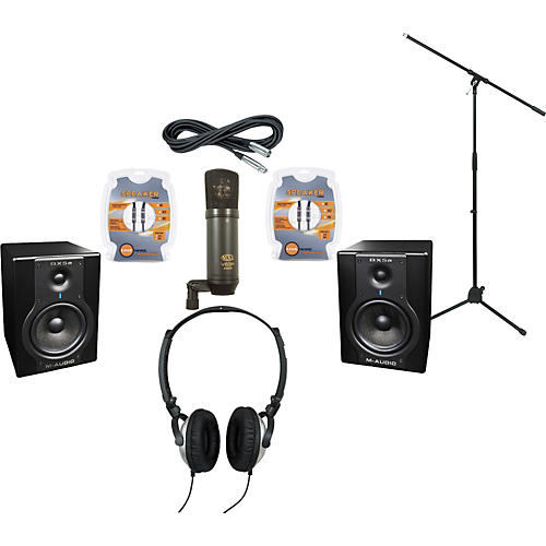 M-Audio BX5A Studio Monitors / MXL V63M Microphone / Gear One G40DX Headphones Recording Package