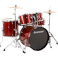 Backbeat Complete 5-Piece Drum Set with Hardware and Cymbals Brushed Red