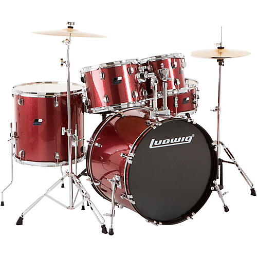 ludwig backbeat complete 5 piece drum set with hardware and cymbals wine red sparkle musician. Black Bedroom Furniture Sets. Home Design Ideas