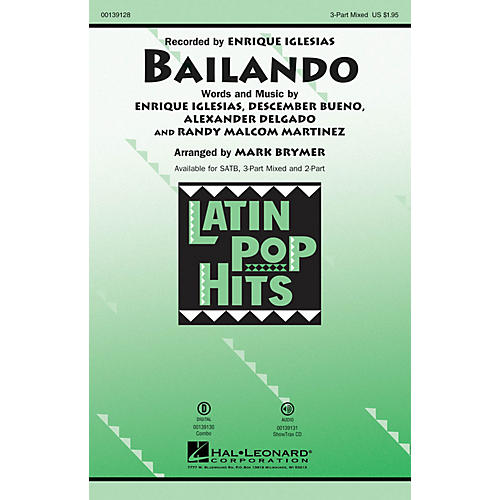 Hal Leonard Bailando 3 Part by Enrique Iglesias arranged by Mark Brymer