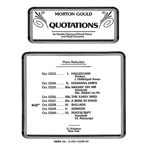 G. Schirmer Ballads From Quotations With Orchestra SSAATTBB composed by M Gould