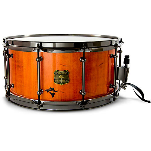 OUTLAW DRUMS Bandit Series Snare Drum with Black Hardware 14 x 6.5 in. Outlaw Orange Sparkle