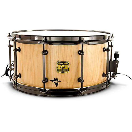 OUTLAW DRUMS Bandit Series Snare Drum with Black Hardware 14 x 8 in. Notorious Natural Wood