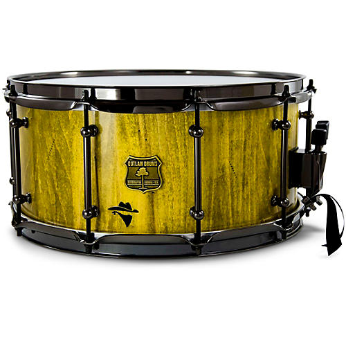 OUTLAW DRUMS Bandit Series Snare Drum with Black Hardware 14 x 8 in. Yeehaw Yellow