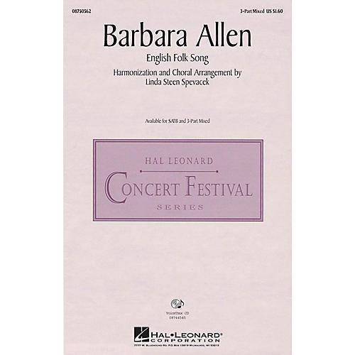 Hal Leonard Barbara Allen 3-Part Mixed arranged by Linda Spevacek