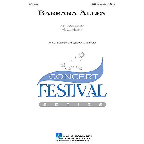 Hal Leonard Barbara Allen SSAA A Cappella Arranged by Mac Huff