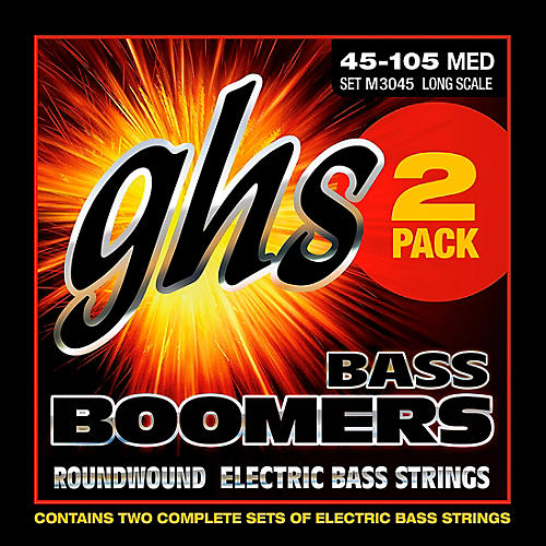 GHS Bass Boomers Standard Long Scale Roundwound Medium Light Electric Bass Strings 2-Pack